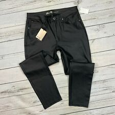 Seven7 Coated Ponte Jeans Size 14 Womens Black Faux Leather Skinny 7M1008 Caviar