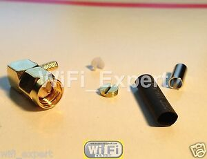 10 x SMA male plug right angle crimp for RG174 RG179 RG316 RG188 cable connector