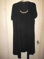 Lovely Dressy 2-Fer Black Knit Long Coat/Dress Silver Glitz Trim 1X 2X NWT