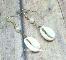 Cowrie Sea Shells Pearl Earring Dangle African Gold Drop Seashells Life Hooks