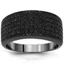 Men's 3Ct Black Diamond 14K Black Gold Finish Wedding Band Ring Over 925 Silver