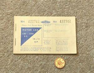 British Motor Fuel Ration Book Motor Car 1101-150 CC UNUSED MH 422742 #A1