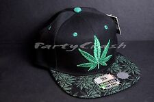 New MARIJUANA Leaf Snapback Cap Hat 420 Weed Dope Green Black
