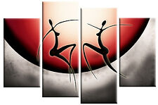LARGE RED GREY ABSTRACT FIGURES CANVAS PICTURE WALL ART SPLIT 4 PANEL 100cm wide