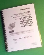 Laser Printed Panasonic Dvx200Pj Pb Ej En Ed Camera 203 Page Owners Manual Guide