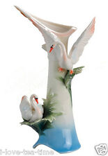 "14"" Modern Porcelain Vase with Elegant Swan for Home Decoration"