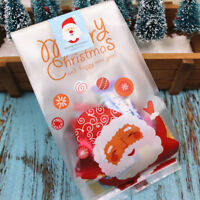 50Pcs Christmas Santa Cellophane Candy Bags Xmas Party Cookie Biscuit Gift Bags