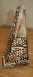 Pyramid Storage Chest With 3 Drawers Made from Carved Wood In Bali 50cm