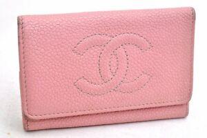 Auth CHANEL Caviar Skin Key Case CC Logo Pink 99725