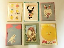 PAPYRUS Greeting Cards Easter Lot of 6 ~ Baby Chicks & Bunnies Cute & Colorful
