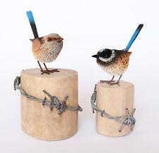 CHEEKY BLUE WREN PAIR AUSTRALIAN BIRDS 11CM ALL NATURAL ORNAMENT, LOGS NOT INCLU