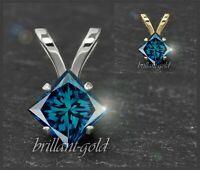 Diamant 585 Gold Damen Anhänger, blaue Prinzess Diamanten 3-5mm/ 0,10-0,50ct