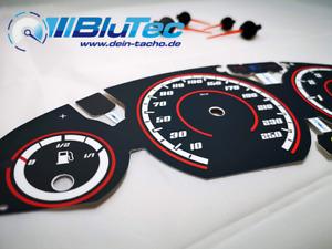Tachoscheiben für: BMW E46 NEW FACE EDITION Benziner BLACK RED LINES