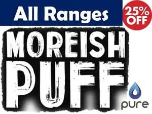 Moreish Puff 100 E Liquid Vape Juice Full Range ml Ecig King Menthol Candy 70/30