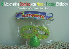 CARNEVALE MASCHERA DOMINO con NASO 8 pz. Happy Birthday Festa Compleanno Verde