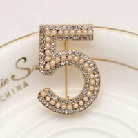 Wedding Rhinestone Crystal Party Number 5 White Pearl Brooch Pin Jewelry