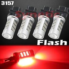 4x 3157 Red Stop Brake 2835 Flashing Strobe Rear Alert Safety LED Light Bulbs