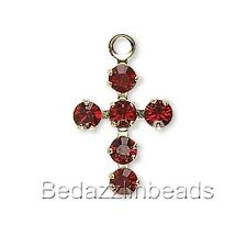 Little 14mm Gold Plated Cross Charm with Siam Red Swarovski Crystal Rhinestones