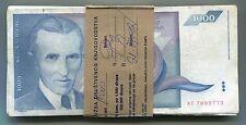Yugoslavia Bundle of 100 Notes P110 1000 Dinara VF Nikola Tesla Year 1991