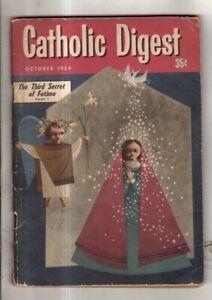 1954 Catholic Digest October - Third Secret of Fatima; Lighthouse living; Notre