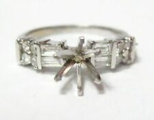 Fine Semi-Mounting Round Diamond Ring Wedding Set Size7 G SI1 14k White Gold