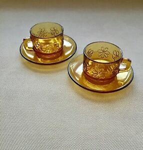 2 x Teacup Duo - AMBER pressed GLASS Tea Cup Saucer made in France vintage retro