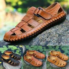 Men's Fisherman Closed Toe Outdoor Buckle Leather Sandals Casual Shoes Slipper
