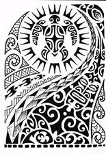Realistic Large Temporary Tattoo Large Tribal Maui Black Totem Arm Tattoo