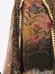 Unstich Salwar Kameez Hand Painted Shirt And Dupatta Bollywood Design