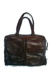 ESPRIT Handbag - Brown Carry Satchel Pockets Work Zipper 100% Genuine Leather