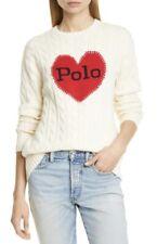 New $168 Polo Ralph Lauren Heart Cotton Crewneck Cable Sweater Cream White L