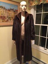 "47"" Full Length Natural Female Brown Mink Real Fur Coat Size 8 Medium USA Skins"