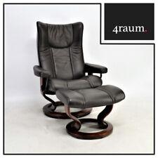 Ekornes Stressless Wing (M) mit Hocker Sessel Relax Leder Fernseh braun bequem