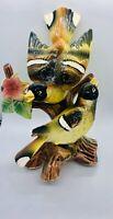 "Ucagco Yellow Ceramic Mom and baby bird on Stump Japan 8"" Tall. Beautiful!"
