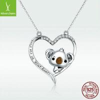 Cute Koala S925 Sterling Silver Pendant Necklace Halo Heart Fashion Women Chain