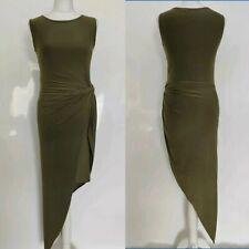 WOMEN'S PARTY DRESS verde oliva Sleevless Knot tagliato Gamba Tagliato Bodycon Lunga 10