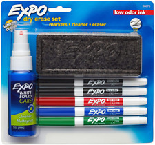 Odor Dry Erase Marker White Board Eraser Cleaner Assorted Color 7 Piece Set Kit
