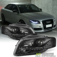 Blk 2006-2008 Audi A4 S4 B7 [R8 Style]LED DRL Halogen Type Projector Headlights