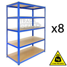 8 x 120CM WIDE HEAVY DUTY SALON METAL WAREHOUSE RACKING GARAGE SHELVING STORAGE