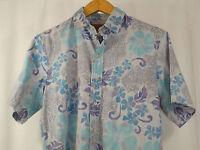 Island Traditions of Hawaii Camp Aloha Shirt Size M Pale Purple Blue Made in USA