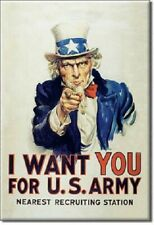 UNCLE SAM, I WANT YOU FOR U.S. ARMY RECRUITING, Retro Vintage Tin Sign Magnet