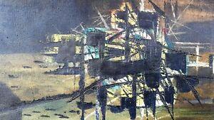 Ibiza original mid century oil painting 1956 artist William Newcombe (1907-1969)