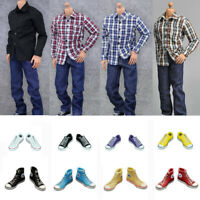 ZYTOYS ZY5019 1//6 White T-Shirt Blue Jeans Belt Set for 12/'/' Male Figure Doll