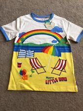 Little Bird By Jools Oliver Seaside Summer Beach Scene Ringer T-shirt 6-7 Years