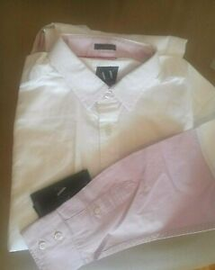 NWT Armani Exchange Mens White Pink Ombre Dressy Casual Button Down Shirt Cotton