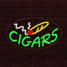 Brand New Cigars Withlogo Oval 30x17x1 Inch Led Flex Indoor Sign 34333