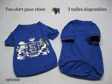 vetement pour petit chien male tee-shirt bleu imprimé argenté dog Taille S 23cm