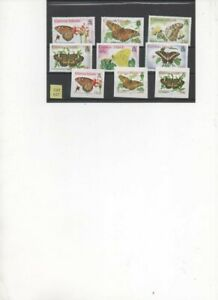 Cayman Islands 2005 Butterflies set of 9 Stamps Gummed and Self Adhesive MNH