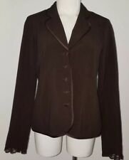 Motherhood Maternity Brown Suit Jacket With Satin Piping and Lace M (Retail $40)