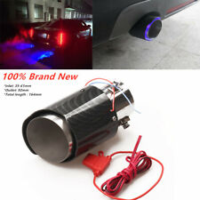 Blue LED Light Glossy Crimping Steel Car Truck Exhaust Muffler Tip Pipe 35-61MM